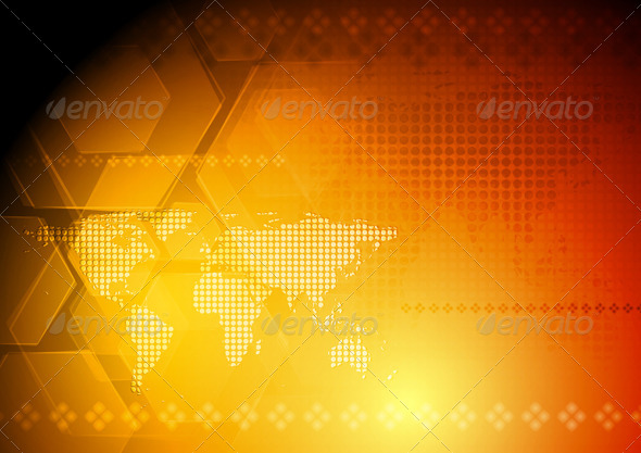 GraphicRiver Vector hi-tech background with world map 3769881