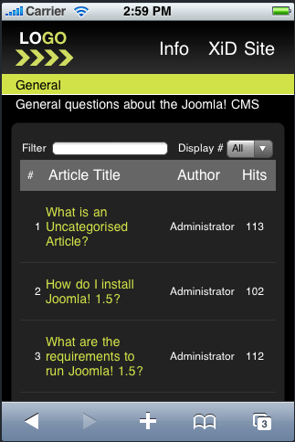 Joomla Mobile Dark Theme