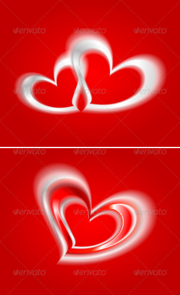 GraphicRiver Vector hearts on the red backdrop 3770702
