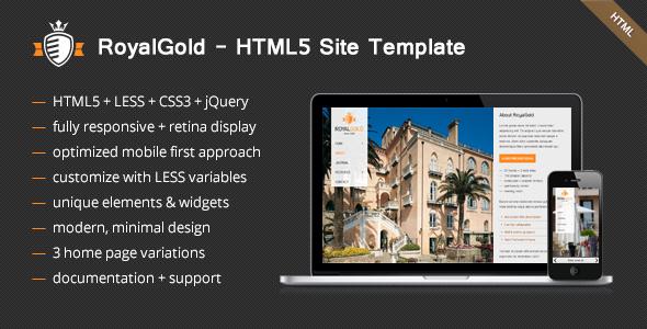ThemeForest RoyalGold Unique HTML5 Site Template 3770768