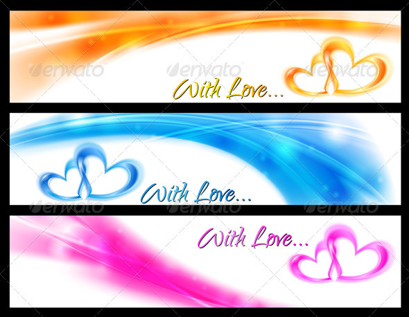 Vector wavy banners with abstract hearts - Valentines Seasons/Holidays