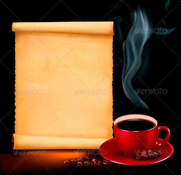 Background with cup of coffee and old paper