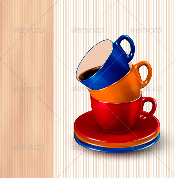 GraphicRiver Background with colorful cups of coffee Coffee des 3771415