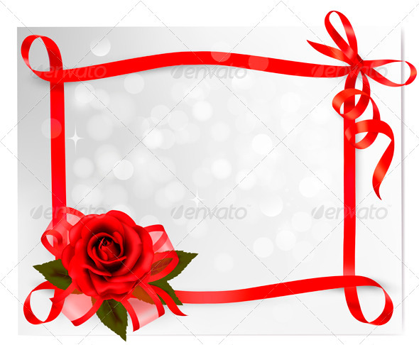 GraphicRiver Red rose with gift red bow and ribbons 3771422