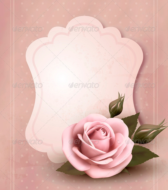 GraphicRiver Retro greeting card with pink rose 3771441