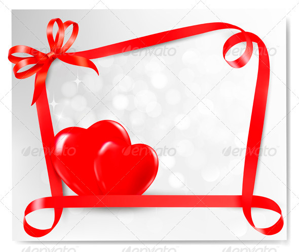 Valentine background with two red hearts