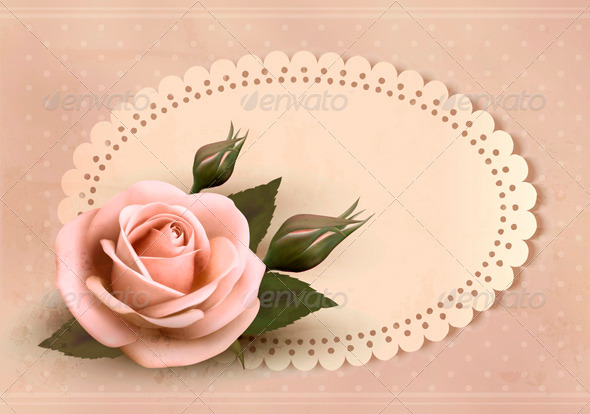 GraphicRiver Retro greeting card with pink rose and bud 3771464