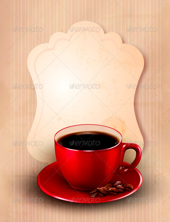 GraphicRiver Retro card with cup of coffee 3771502
