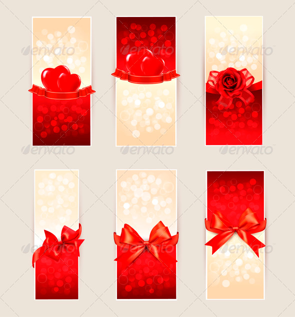 GraphicRiver Set of beautiful gift cards with red gift bows 3771577