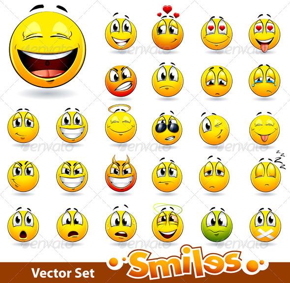 Vector set of cute smile-balls - Vectors