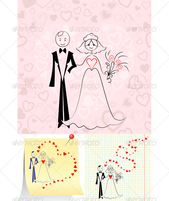 GraphicRiver Vector Couple in Love Bride and Groom 3717381