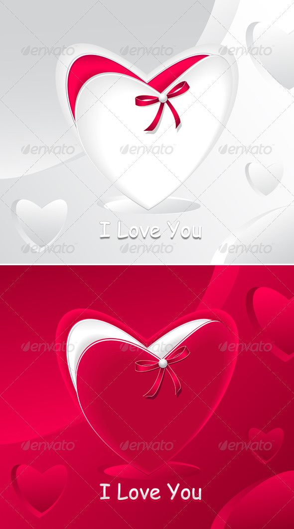 GraphicRiver Gift in form heart and with red bow pearl 3771936