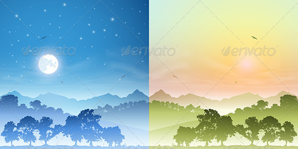 GraphicRiver Day and Night Landscapes 3773025