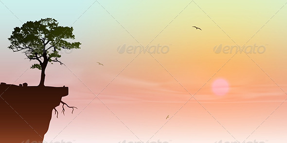 GraphicRiver Tree on a Cliff 3773027