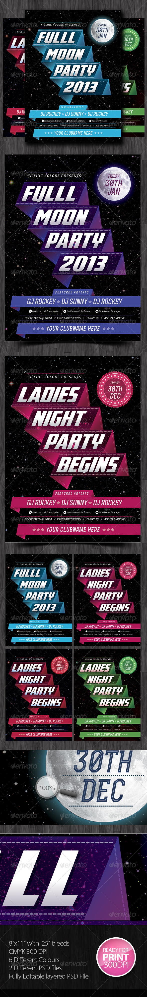 GraphicRiver Full Moon Party Flyer 3773064