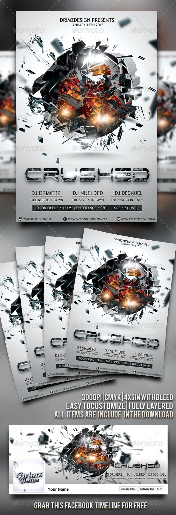 Crushed Flyer - Flyers Print Templates
