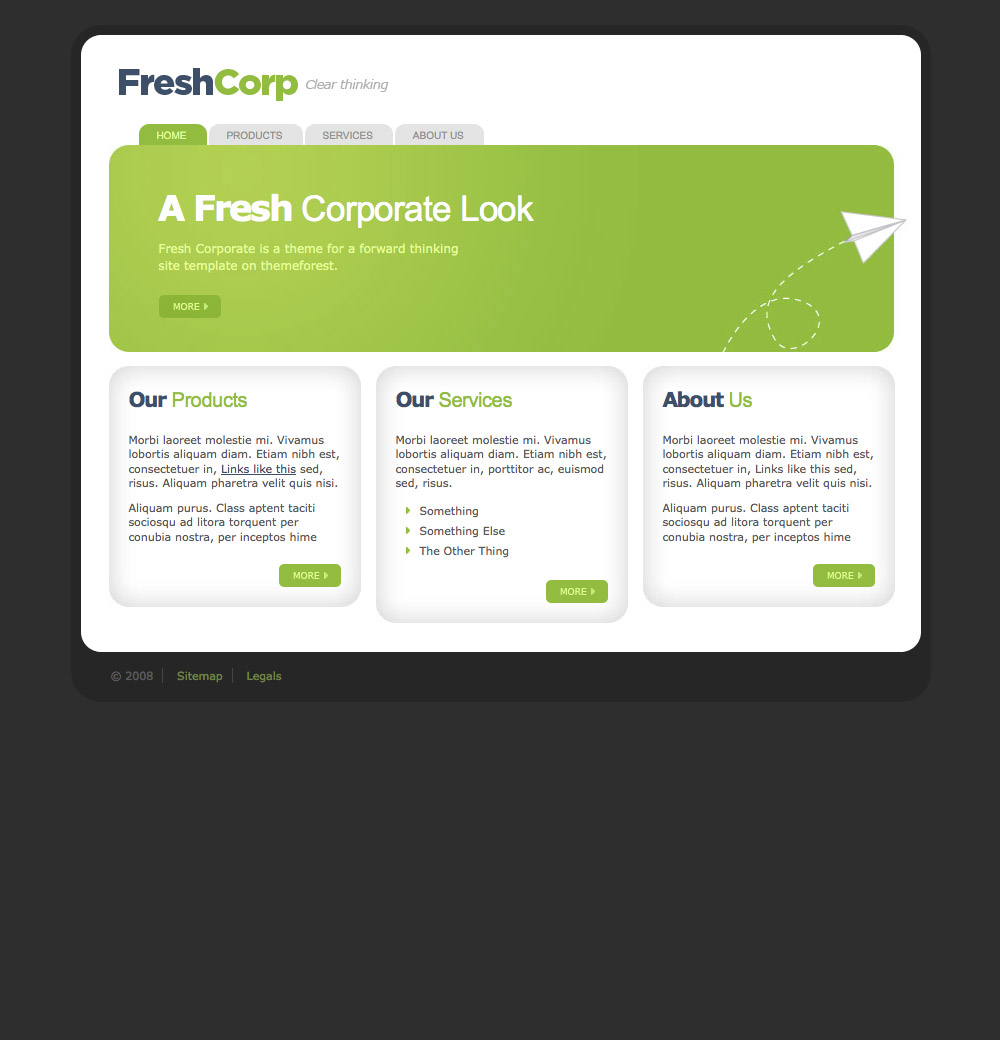 FreshCorp - Business Template - FreshCorp Homepage - There are three homepage panels to feature content, they extend downwards if you have more content to fill in.  Also a single main panel with a paper plane image that can be changed for something appropriate.  Tabbed menu items pop up when rolled over.