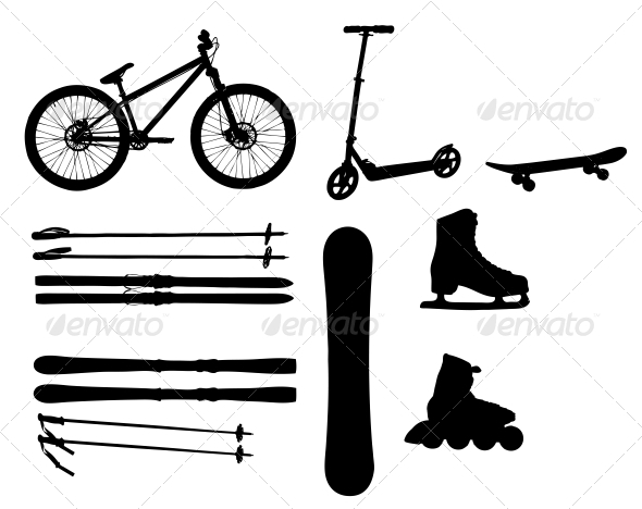 GraphicRiver Sports Equipment Silhouettes 3773744