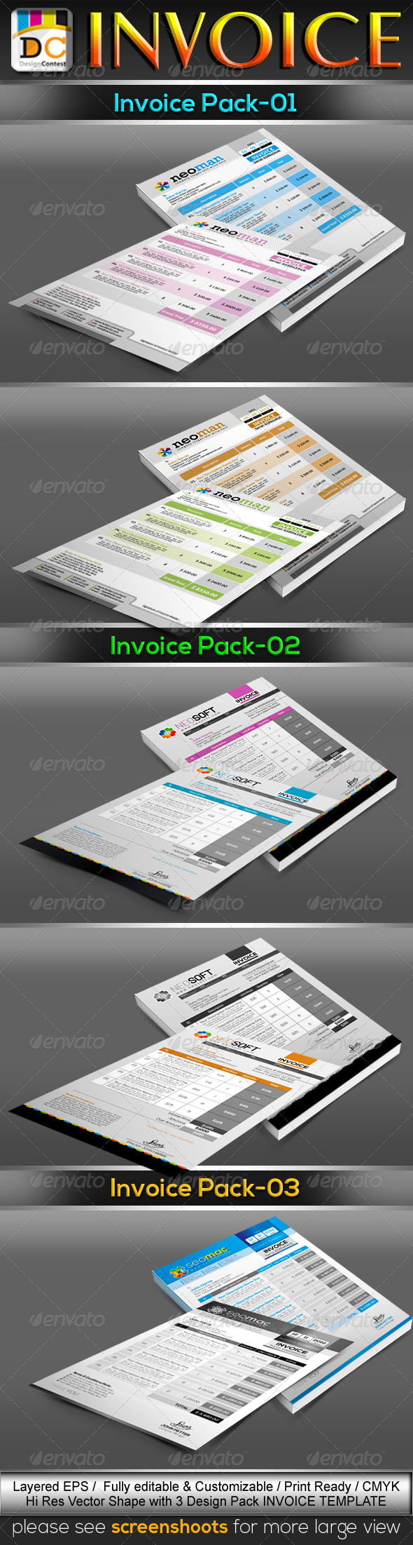 GraphicRiver Corporate Business Invoice Cash Memo Template Bundle 3774339
