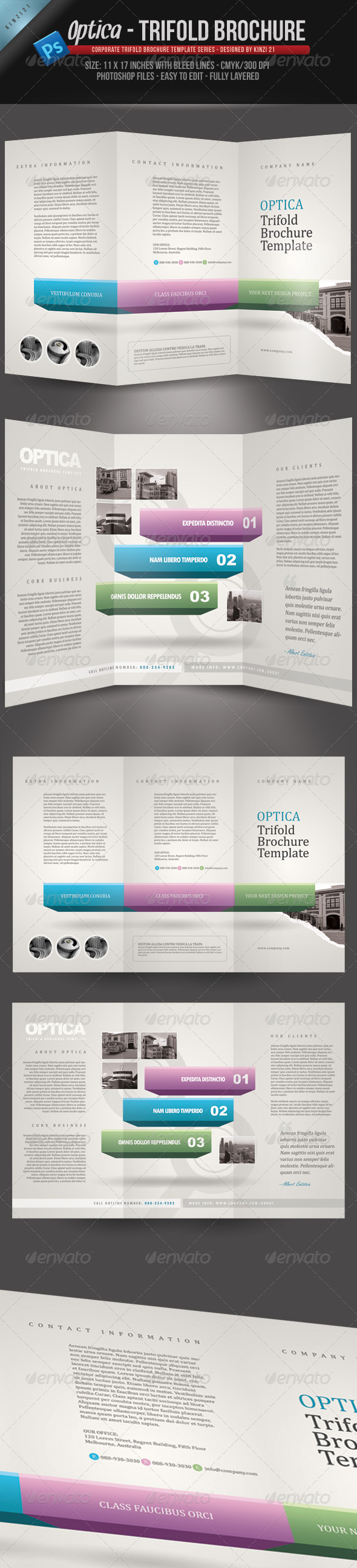GraphicRiver Optica Trifold Brochure Template 263175