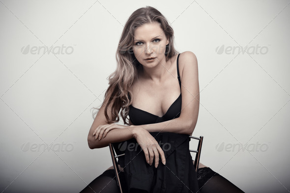 Lady on the chair - Stock Photo - Images