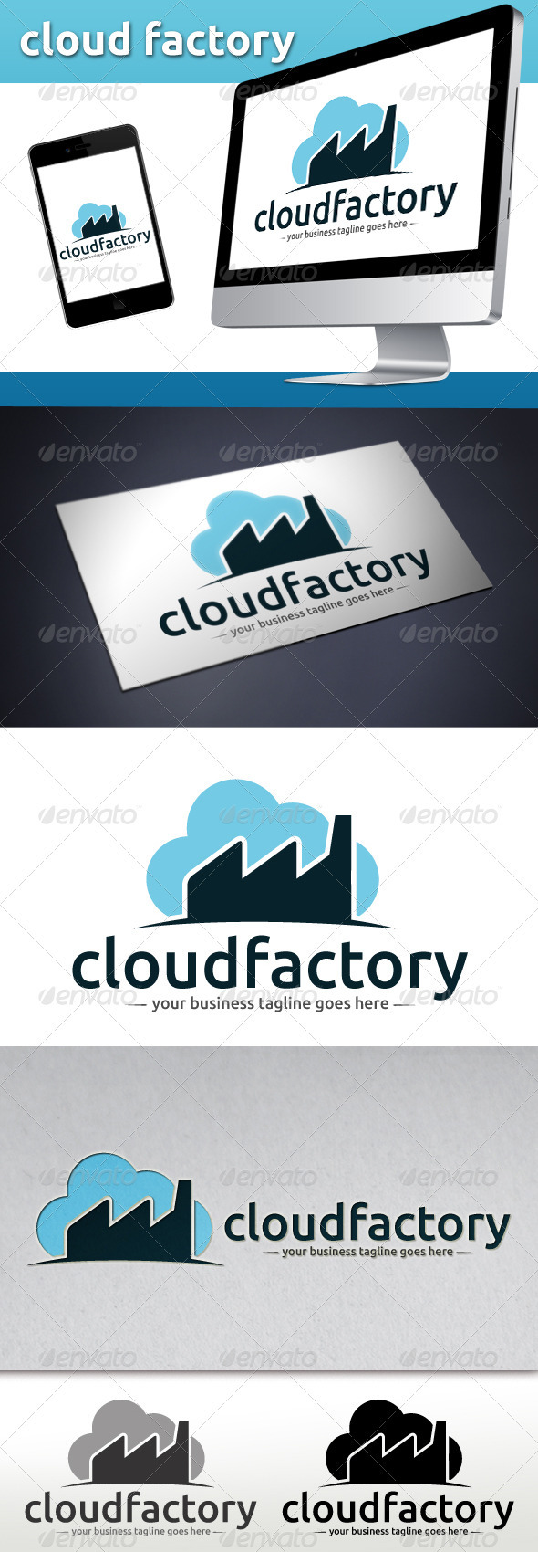GraphicRiver Cloud Factory Logo Template 3774991