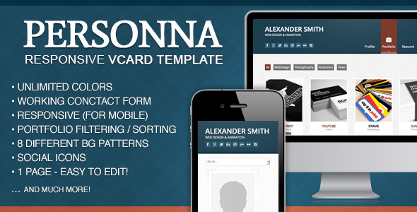 Doctype Personna -  Responsive vCard Template