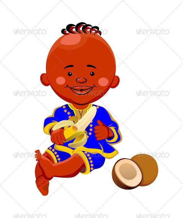 Vector baby eats a banana - People Characters