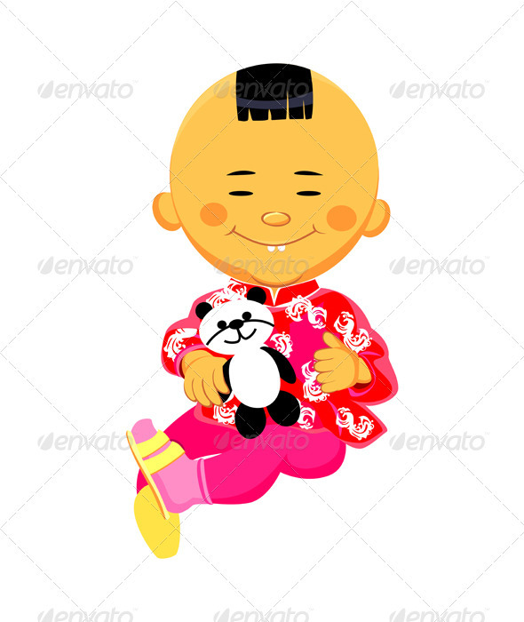 Vector Chinese boy plays with a panda - People Characters