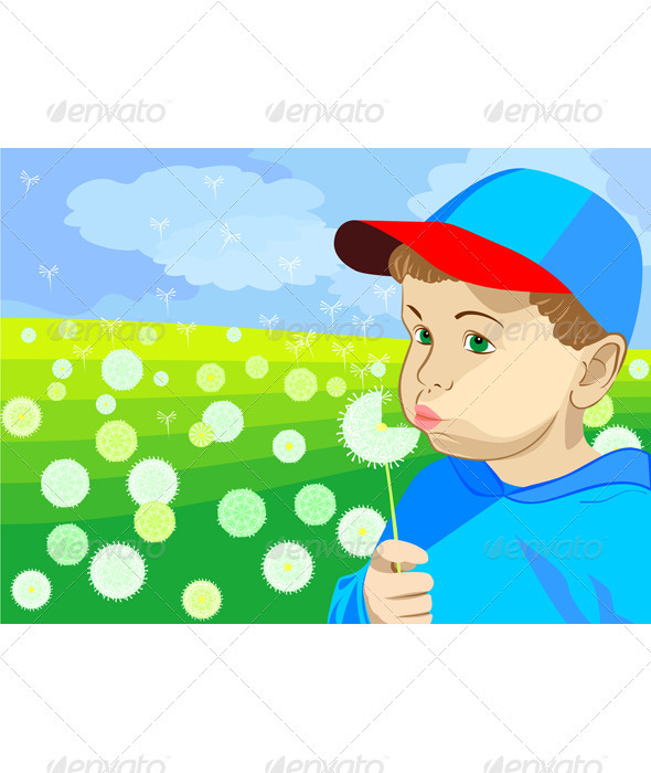 Vector boy blowing on a dandelion in the meadow - People Characters