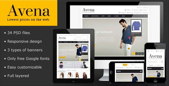 ThemeForest Avena PSD eCommerce template 3775953