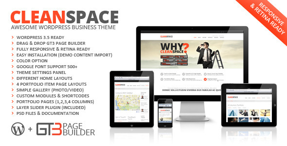 ThemeForest CleanSpace Retina Ready Business WP Theme 3776000