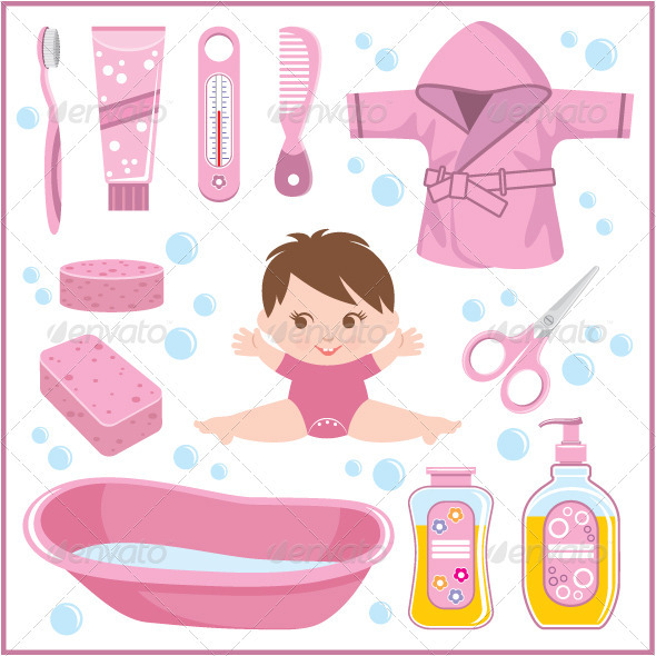 Set of Children s Things for Bathing