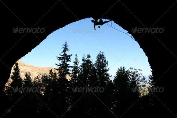 rock climber silhouette - Stock Photo - Images