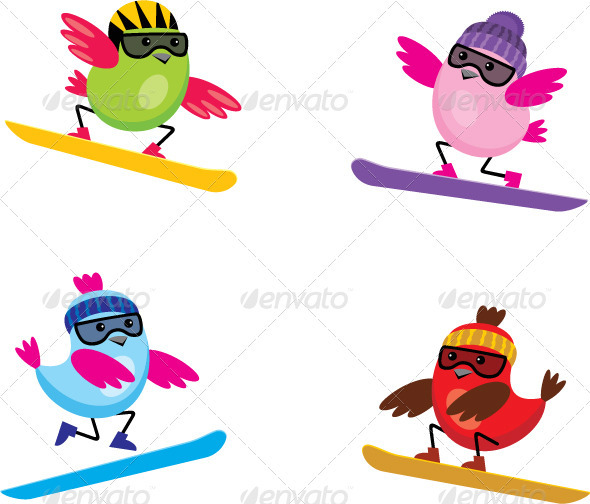 GraphicRiver Birds on Snowboards 3776077