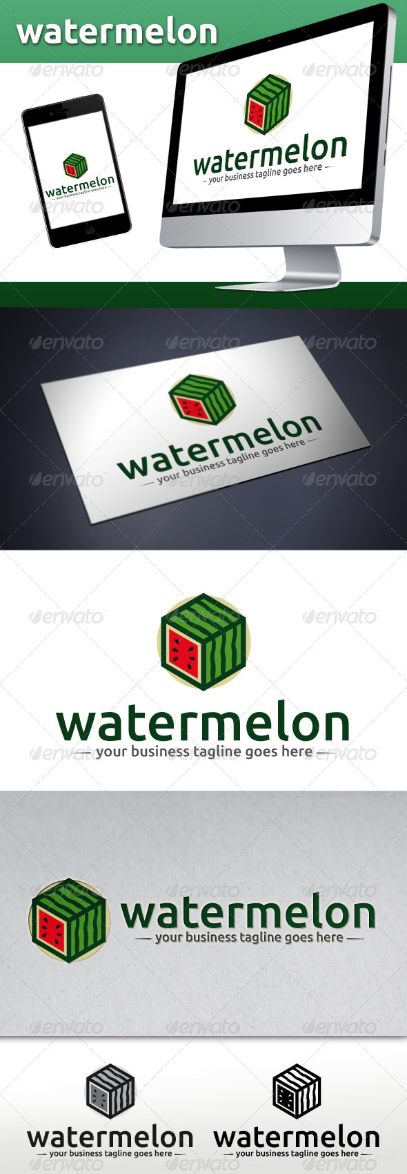 Watermelon Box Logo Template - Food Logo Templates