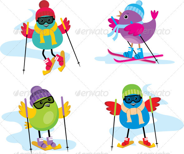 GraphicRiver Skiing Birds 3776202