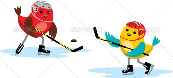GraphicRiver Birds Playing Hockey 3776213