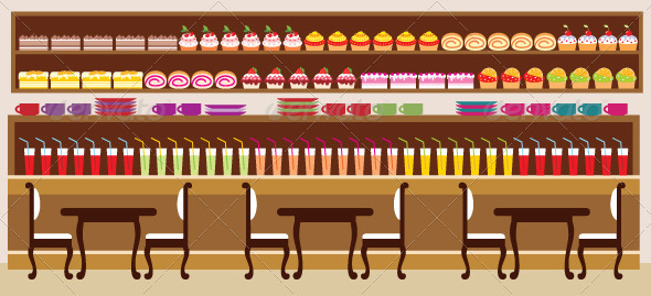 Cafe Setting Vector Illustration