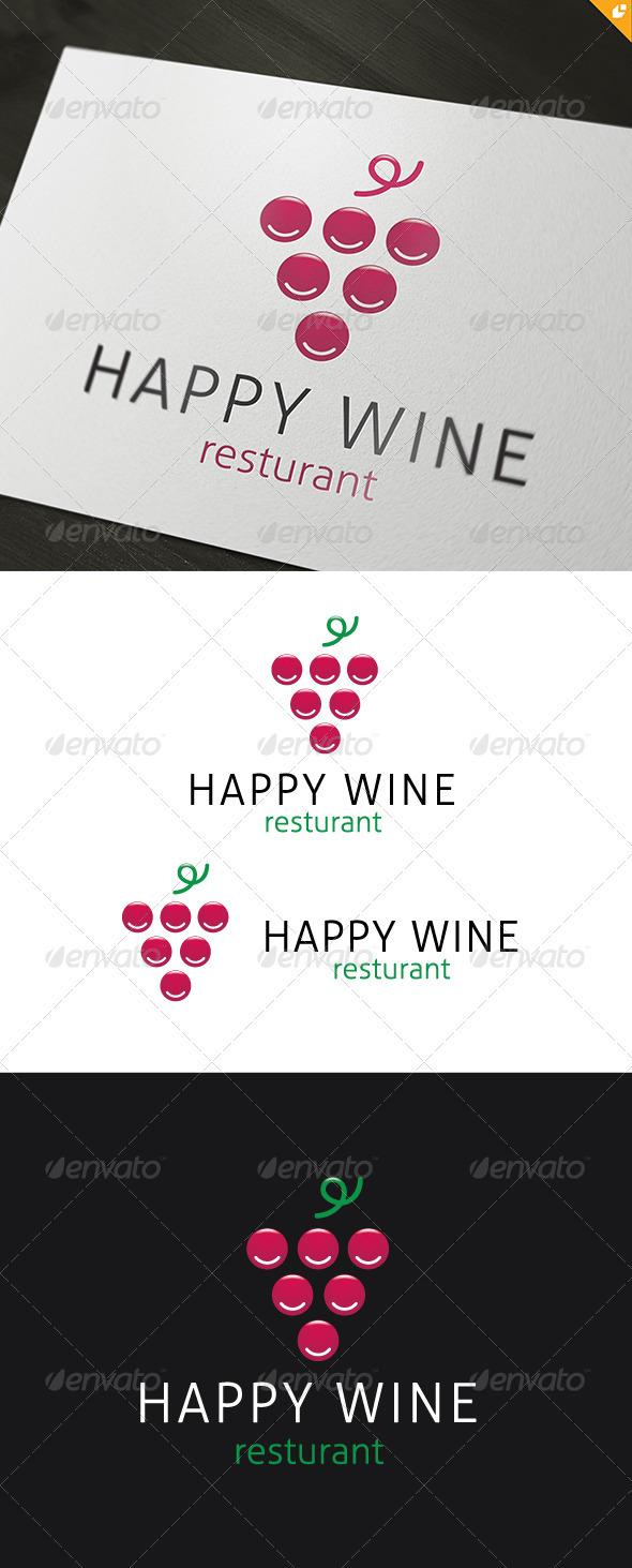 Happy Wine Logo - Food Logo Templates