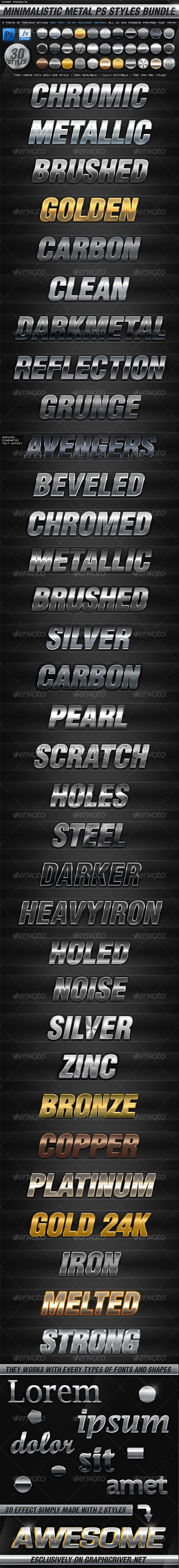 GraphicRiver BUNDLE 30 Minimalistic Metal PS Styles 3777009