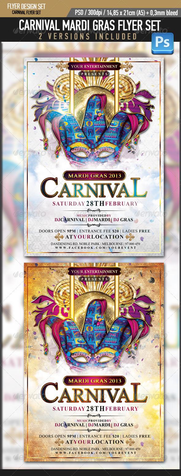 GraphicRiver Mardi Gras Carnival Flyer Template 3777193