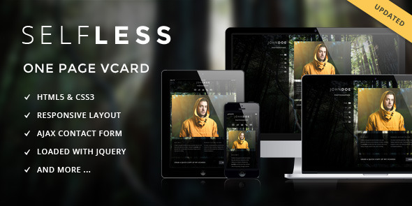 ThemeForest Selfless One Page Personal VCard HTML5 Template 3773043
