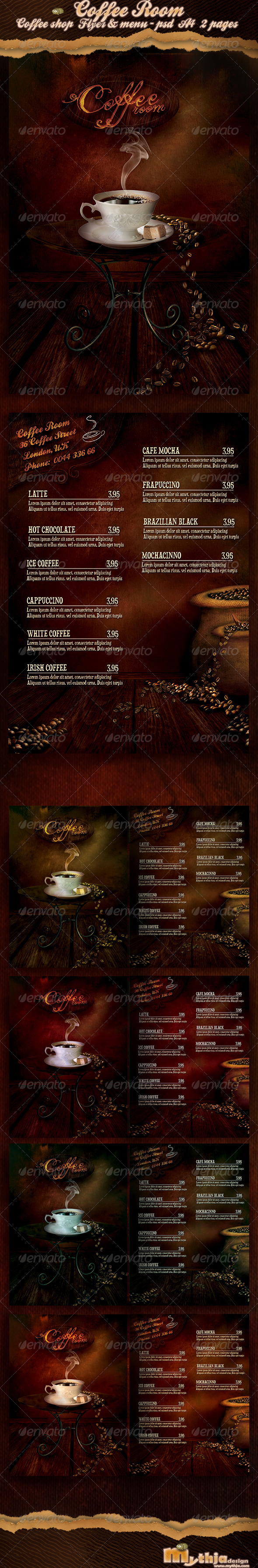 Coffee Room - Coffee Shop Flyer & Menu  - Food Menus Print Templates