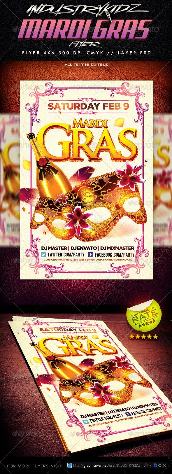 GraphicRiver Mardi Gras Flyer Template 3777496