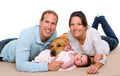 Baby mother and father happy family and dog
