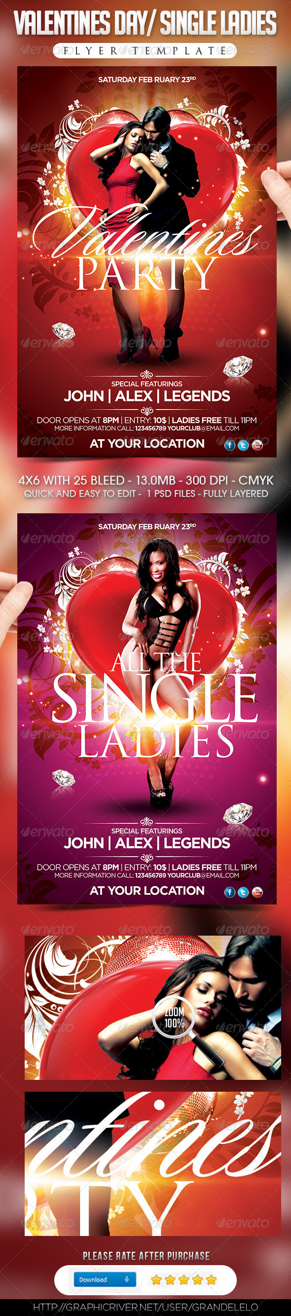 Valentines Day / Single Ladies Flyer Template - Clubs & Parties Events
