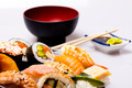 Sushi on a Plate with bowl in the background - PhotoDune Item for Sale