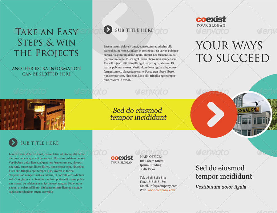 Coexist trifold brochure psd template by kinzi21 for Brochure templates envato