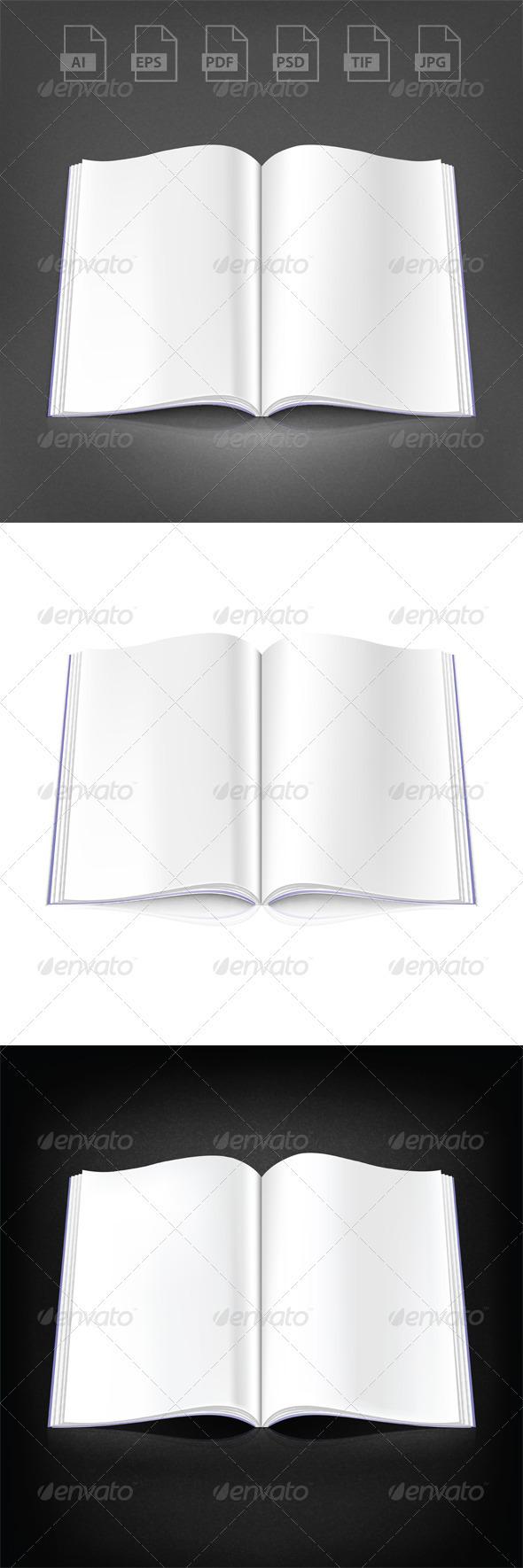 3 Open Magazine - Objects Vectors
